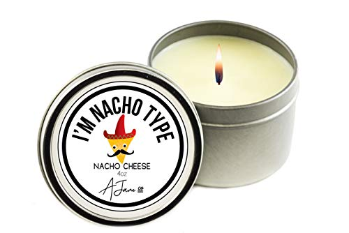 (Novelty Collection All Natural Scented Candle-Clean burning and HARMLESS to health, pure Coconut soy wax, aromatherapy candle, best gift with 100% recyclable packaging-Nacho Cheese by AJane Co)