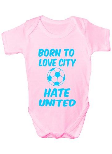 print4u Love Man City Hate Man Utd ~Baby Onesie Size 0-18 Months 6-12 (Twin City Vest)