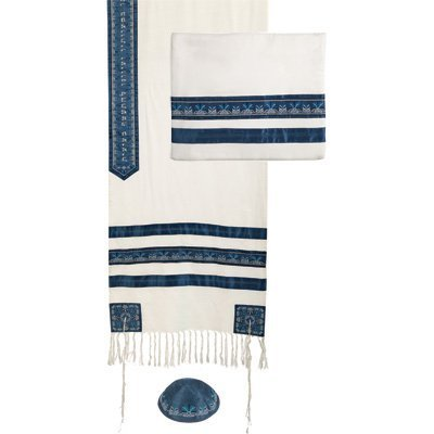 Yair Emanuel Blue Stripes Embroidered Cotton Tallit Set with Kippah 20