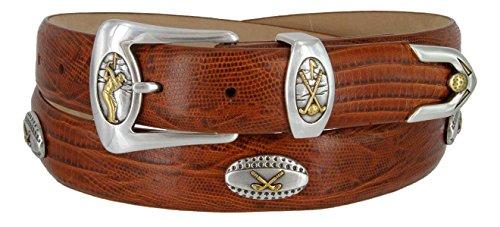Bellerive Men's Italian Calfskin Designer Dress Belt with Golf Conchos (Lizard Tan, (Golf Concho Belts)