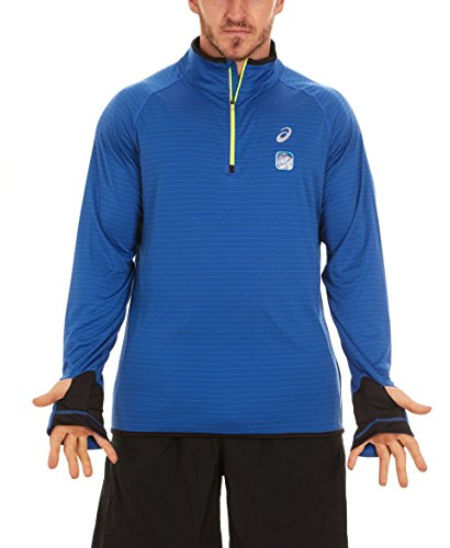 ASICS Men's 1/4 Zip Stripe Running Jacket, New Blue, Large