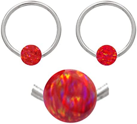 septum earring body Jewelry piercing hoop belly tragus 14 gauge 14g Sparkling synthetic Pink fire Opal horseshoe Hypoallergenic 316L Stainless Steel Surgical Steel Ring lip cartilage nipple