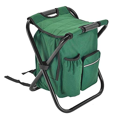 Folding Chair Outdoor Fishing Chair Bag Folding Camping Stool Portable Backpack Cooler Insulated Picnic Bag Hiking Seat Table Bag Bear 150Kg,Green