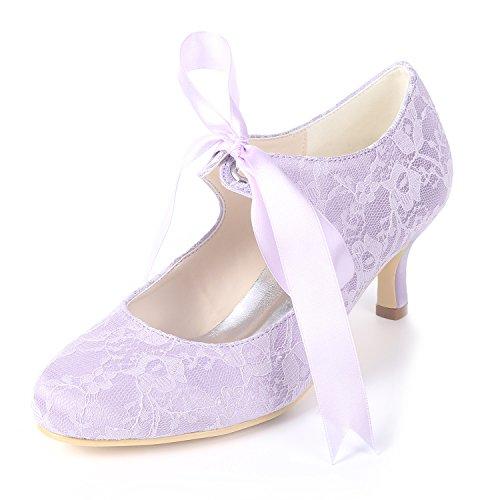 Creativesugar Women Mary Jane Closed Toe Low Heel Lace Wedding Bridal Shoes Ribbon Tie (9, - Heels Ribbon Kitten