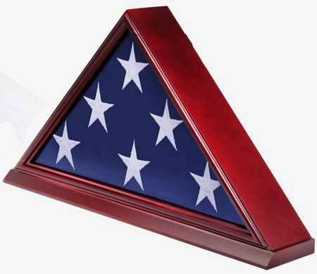 DisplayGifts FC06-CH Solid Wood Elegant 5 x 9.5' Flag Display Case for Burial/Funeral/Veteran Flag, Cherry - Gallery Cherry Solid Wood