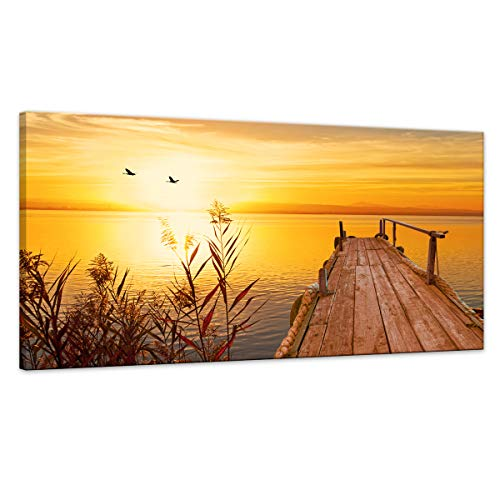 Wall Art for Living room Artwork Canvas Painting Wall Art The Picture for Home Decoration Yellow Sea Pier with Bird Flying and Colourful Sky at Sunset Lake Landscape Print On Canvas Size:24x48inch (Art Bird Shore Wall)