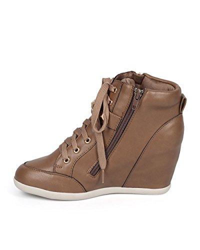 Vild Diva Dk04 Kvinnor Läder Översållad Spänne Rem Zip Wedge Sneaker - Taupe Läder