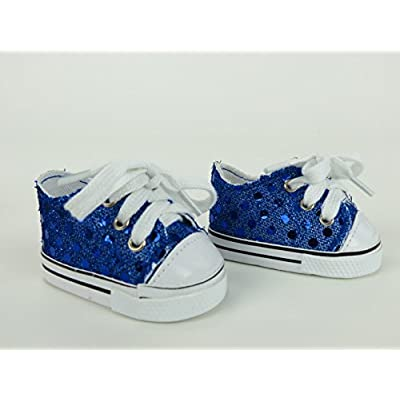 "Royal Blue Sequin Sneakers -18"" Dolls: Toys & Games"