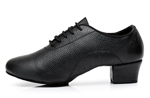 Modern Salsa Rumba Samba Black Ballroom Shoes Holes Latin Dance Tango Women's TDA Leather up Lace with Classic vvwqYf