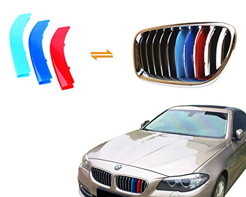 (Jackey Awesome Exact Fit ///M-Colored Grille Insert Trims For 2014-2015 BMW F10 F11 5 Series 528i 535i 550i with M-Performance Black Kidney Grill (For BMW 2014-2015 5 Series,10 Beams))