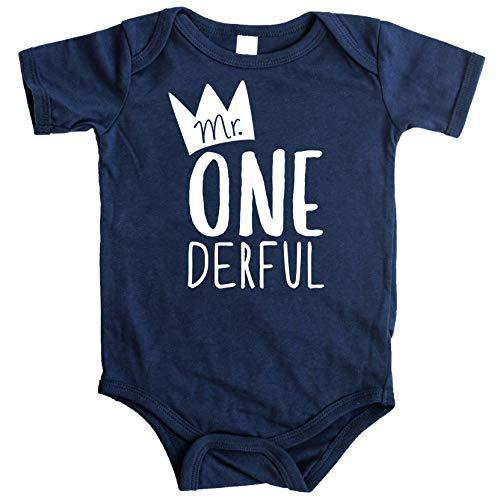 Mr One-Derful Baby Boys 1st Birthday Bodysuit First Birthday Outfit for Boys Navy