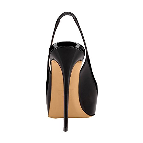 FSJ Women colorful Dress Sandals Slingback Peep Toe High Heels Pumps With Platform Size 4-15 US Black sale prices cheapest price cheap sale professional clearance finishline qMoQbDR
