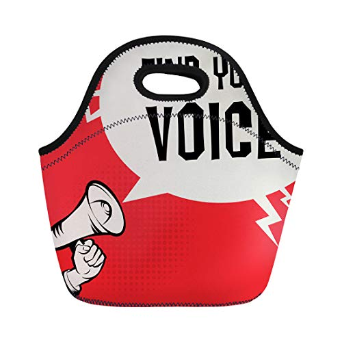 Semtomn Lunch Bags Alarm Announcement Megaphone Hand Text Find Your Voice Audience Neoprene Lunch Bag Lunchbox Tote Bag Portable Picnic Bag Cooler - Voice Announcement