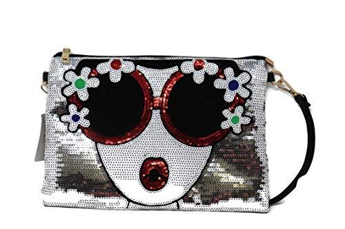 - BOUTIQUES Oversized Sequin Clutch Purse Large Design Leather Evening Wristlet Handbag Shoulder for ladies (Sliver Flower)