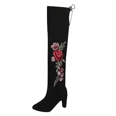 f0fb8a1463d625 BaZhaHei Damen Schuhe Mode Rose Sticken Oberschenkel Hohe Stiefel Overknee  Stiefel Flock High Heels Schuhe Langschaftstiefel