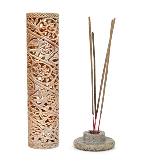 Carry Me Hand Carved Round Marble Soapstone Incense Stick Burner Candle Holder for Gifting Purpose and Home and Kitchen Decor (3 x 3 x 11 Inches)