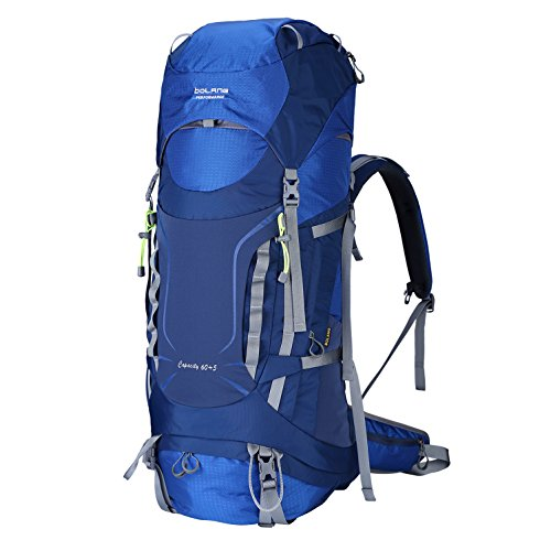BOLANG Outdoor Intenal Frame Backpacks Waterproof Hiking Backpacking Packs for Mountaineering Travel Camping 60L 8786 (New Blue, 60L)