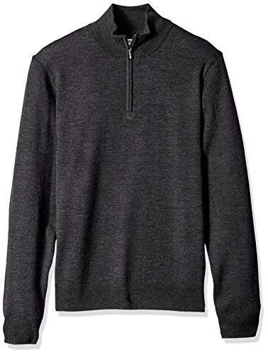 Goodthreads Men's Merino Wool Quarter Zip Sweater, Charcoal, XX-Large