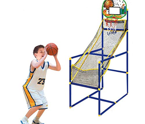 笑颜Saki Basketball Hoop Shooting Training System Gift- Kids Basketball Hoop Arcade Game Toy Sports Outdoor/Indoor with Mini Hoop, Inflatable Ball and Pump