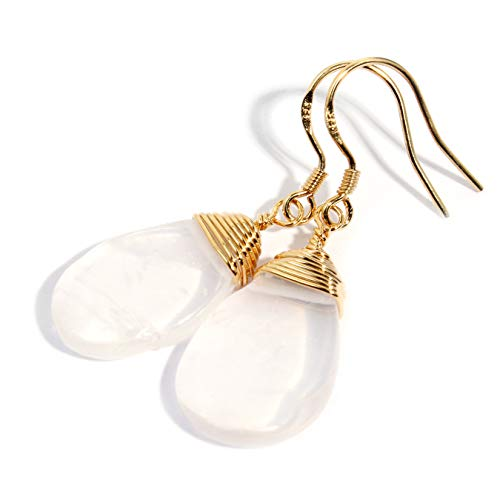 Scutum Craft Natural Stone Wire Wrap Dangle Drop Earrings Gold Plated 925 Sterling Silver Hook Jewelry for Women, (Rose-Quartz Spoon)