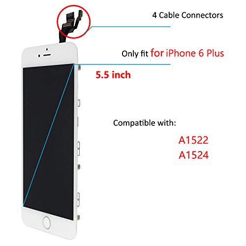 For iPhone 6 Plus Digitizer Screen Replacement White - Ayake 5.5'' Full LCD Display Assembly with Home Button, Front Facing Camera, Earpiece Speaker Pre Assembled and Repair Tool Kits by Ayake (Image #2)