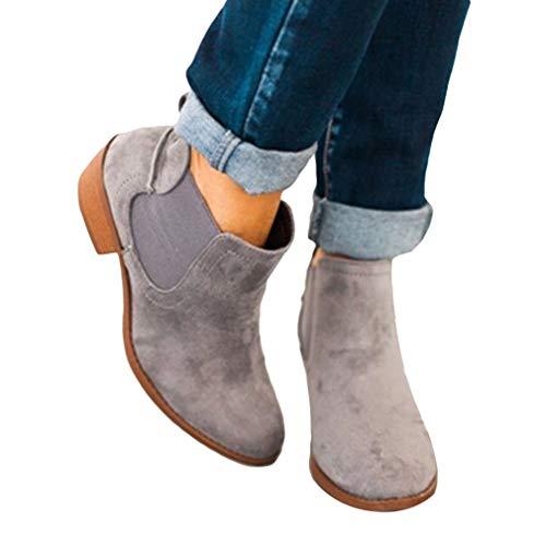 Botas de Mujer Cabeza Redonda Botines Plano Color Sólido Botines Anti Deslizante Zapatos para Otoño Invierno Flexibilidad Botas Oficina Fiesta Escuela Boda Botas Gris