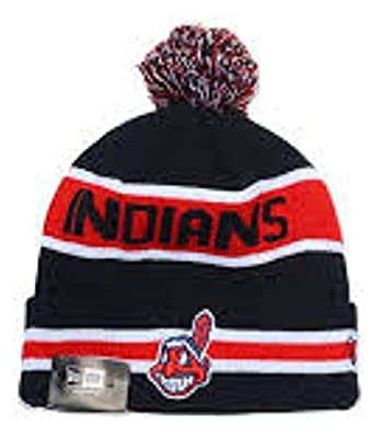 Authentic Cleveland Indians Biggest Fan The Coach Pom Knit Hat - Navy - OSFM