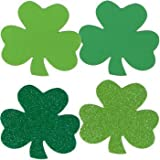 "St. Patrick's Day Decorations - 4"" Foam Shamrocks - 12 Per Pack"