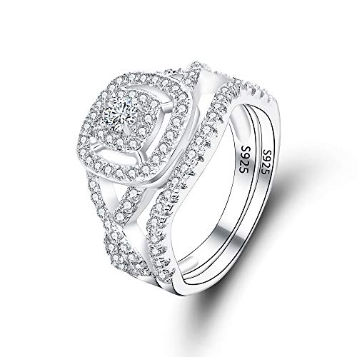 EVER FAITH 925 Sterling Silver Elegant Full Pave CZ Wedding Engagement Ring Set Clear Size 7