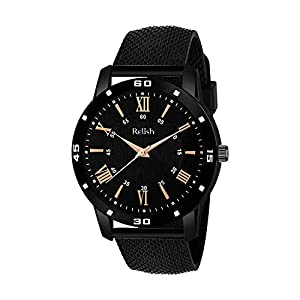 Relish Analogue Men's & Boys' Watch (Black Dial Black Colored Strap)
