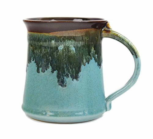 Handmade Pottery Mugs (Clay In Motion Handmade Ceramic Medium Mug 16oz - Ocean Tide)