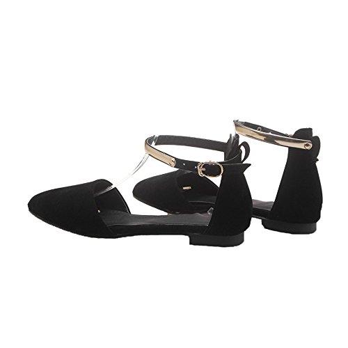 Ballerines Pointu Escarpins Shoes Cheville Sangle Femmes EuD57 AgeeMi Noir Plat Boucle Bout ZBEwq