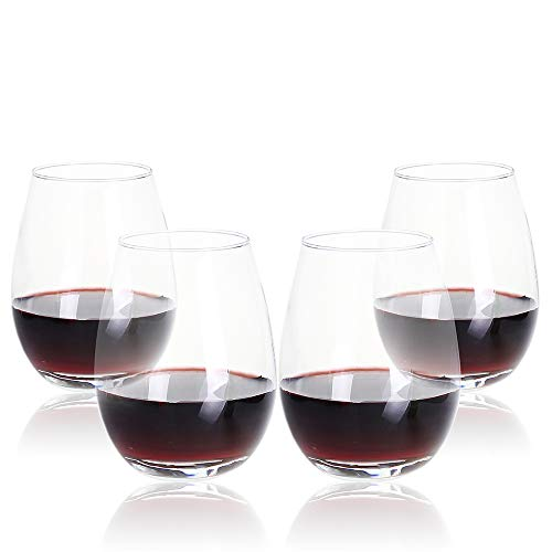 Bavel Stemless Wine Glasses,19oz,set of 4,Red W...