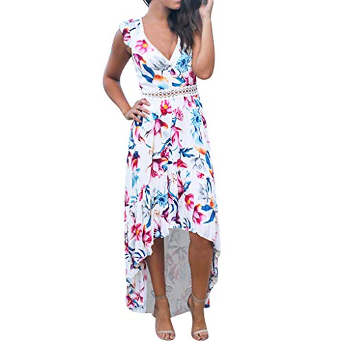 kemilove Women's Floral Bodycon Derss Elegant Sleeveless Ruffle Midi Dress Party Dress ()