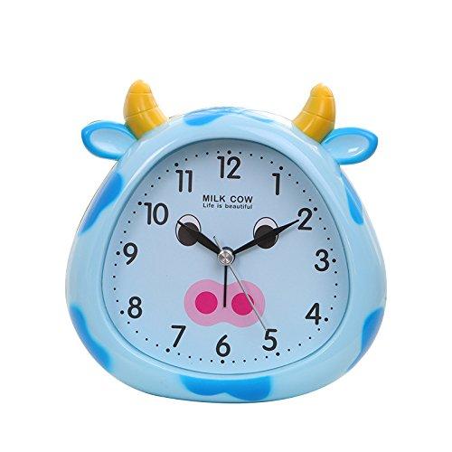 Heylookhere Quiet and Practical Creative Children Kids Students Animal Pig Alarm Clock Decoration (Blue)