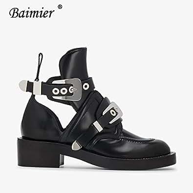 Amazon.com: Fumak Gold Silver Buckle Women Boots Luxury