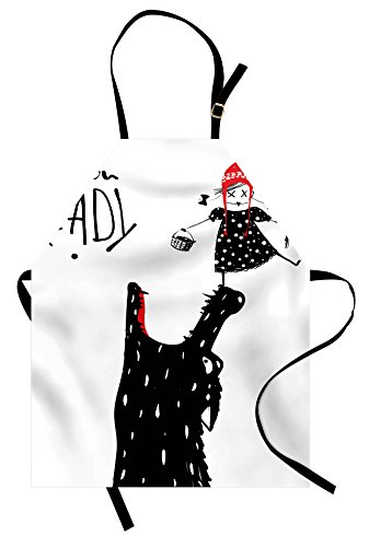 Lunarable Modern Apron, Cartoon Design Print with a Little Red Riding Hood Girl and Wolf Theme, Unisex Kitchen Bib Apron with Adjustable Neck for Cooking Baking Gardening, Black Red and -