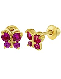 In Season Jewelry 18k Gold Plated Fuchsia Pink CZ Butterfly Shaped Earrings Screw Back Baby Kids