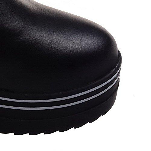 AllhqFashion Mujeres Sin cordones Puntera Redonda Caña Baja Cuña Plataforma Sólido Botas Negro