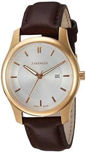 Wenger-Mens-City-Classic-Swiss-Quartz-Gold-Tone-and-Leather-Casual-Watch-ColorBlack-Model-011421102