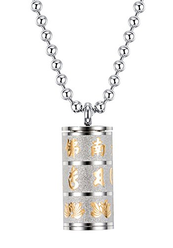 UNAPHYO Men's Stainless Steel Openable Buddhist Mantra Om Mani Padme Hum Prayer Wheel Pendant Necklace Silver and ()