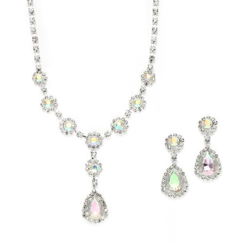 AB Crystal Necklace and Earrings Jewelry Set