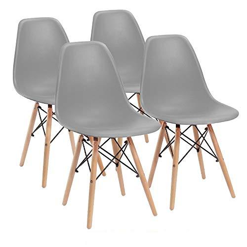 Comfortableplus Juego de 4 sillas de Comedor Eiffel Retro Asiento de plastico y Las piernas de Madera (Gris)