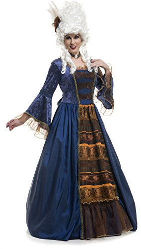 Colonial Ball Gown Costumes (Womens Victorian Ball Gown Deluxe Taffeta Full Length Dress 14-16)