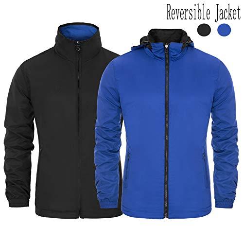 (PAUL JONES Men's Reversible Windbreaker Lightweight Rain Jacket with Hideaway Hood)