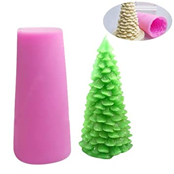 Justdolife árbol de Navidad del Molde de Silicona Molde de la Torta Hecho a Mano del Molde de la Vela de Silicona para Hornear Molde para la Fiesta de ...