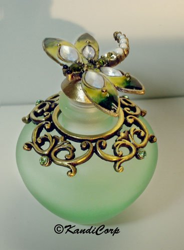 Perfume Bottle - Frosted Green Bottle with Dragonfly - Peridot and Olivine Rhinestones