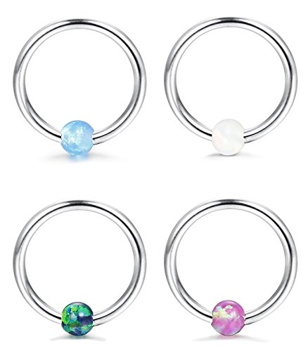 FUNRUN JEWELRY 4PCS 16G Stainless Steel Created-opal Captive Bead Ring for Men Girls Hoop Nose Ring Tragus Earrings 8-10mm
