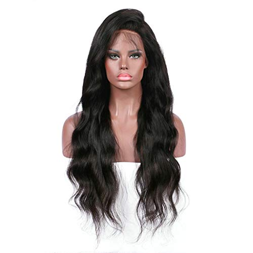 Women Natural Wigs, Lady Fashion Synthetic Long Wig Gradient Lace Wig Costume Wigs Brunette Sexy Big Wavy Curly Hair (black, 28 inches) ()