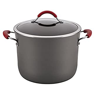 Rachael Ray 87634 Cucina Hard Anodized Nonstick Stockpot with Lid/Dishwasher Safe, 10 Quart, Gray with Red Handles (B00JYHO22W)   Amazon price tracker / tracking, Amazon price history charts, Amazon price watches, Amazon price drop alerts